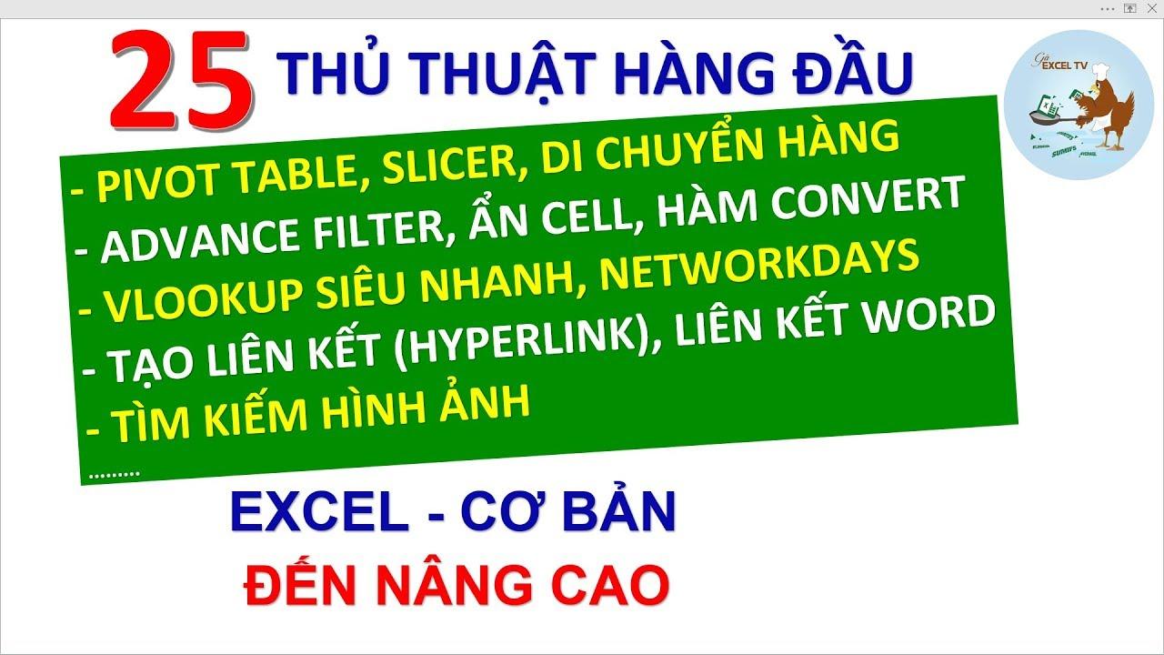 Thủ thuật Excel | 25 tuyệt chiêu trong excel cần phải biết (Part 2)