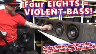 Four 8\'s = Violent BASS! BADASS Ported Under-Seat Truck Enclosure Wired Up - Disintegrates a CD!