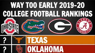 College Football Way Too Early Top 25 Rankings For 2019 20