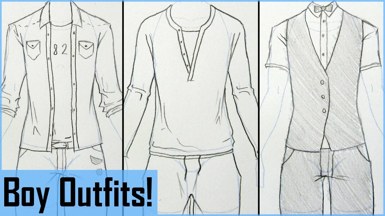 How to Draw Manga Boy Outfits! - YouTube