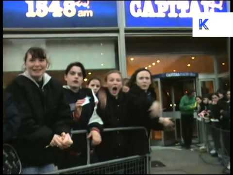 1990s, Screaming Teenage Girl Fans, London, ArchiveFootage