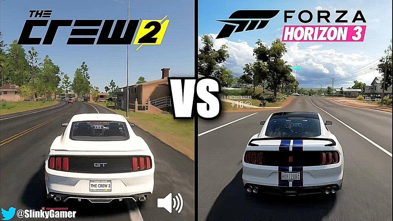 The Crew 2 vs Forza Horizon 3 - Graphics and sound comparison gameplay