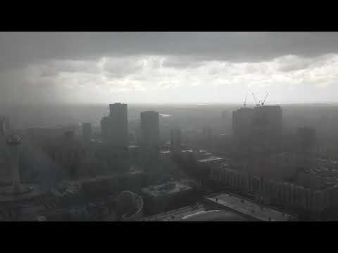 Astana, Kazakhstan. Heavy rain. 07.2017.