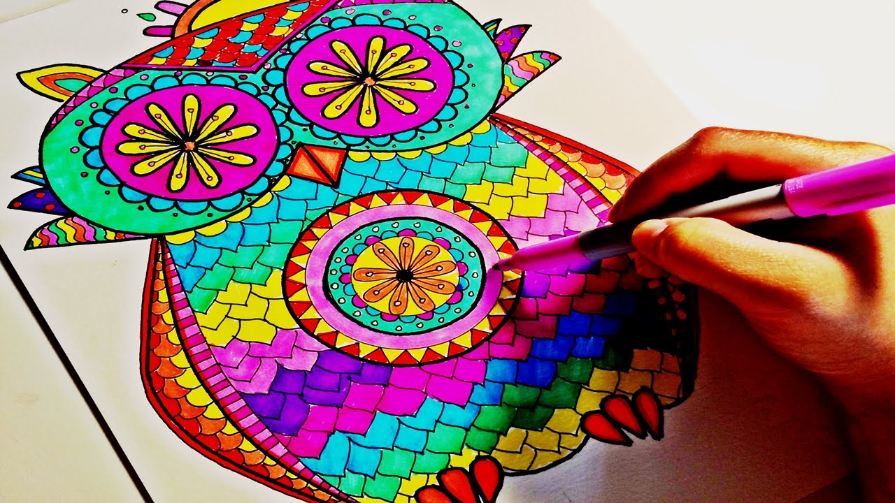 Sharpie Color Time Owl Mandala Part 2 YouTube