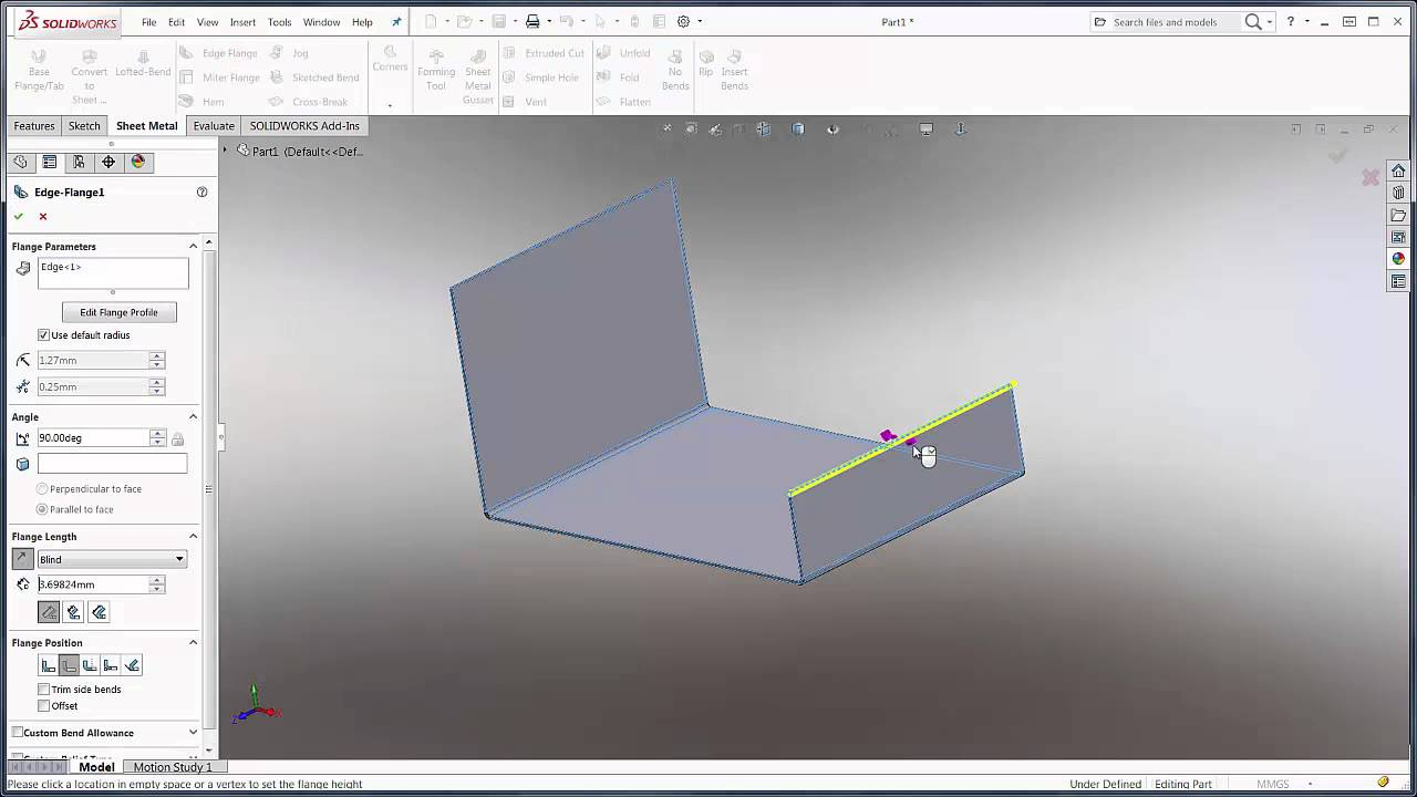 SOLIDWORKS 2016 - Sheetmetal Edge Flange Extension - YouTube