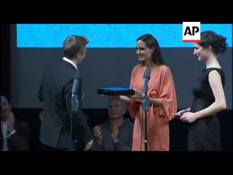 Angelina Jolie and Brad Pitt in Sarajevo for film prize