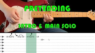 PRETENDING - Guitar lesson - Intro & main solo with tabs (fast & slow) - Eric Clapton