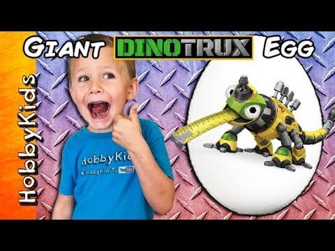 World's Biggest DINOTRUX Surprise Egg! Scavenger Hunt + Old Man Toy Review HobbyKidsTV