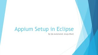 Appium Setup with Eclipse in Windows