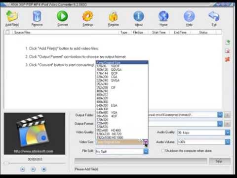 TÉLÉCHARGER ALLOK 3GP PSP MP4 IPOD VIDEO CONVERTER 6.2.0603