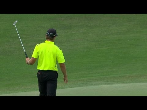 Patrick Rodgers sinks his downhill putt for eagle at Wells Fargo