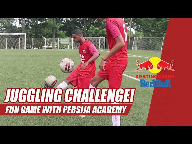 JUGGLING CHALLENGE!!! Kratingdaeng Red Bull Fun Games with Persija Academy