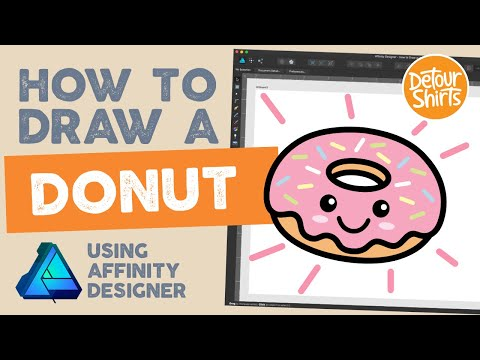 How to draw a donut using Affinity Designer. Graphic design tutorial for t-shirt designs. thumbnail