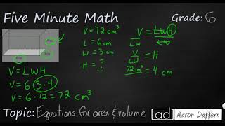 6th Grade Math Equations for Area and Volume