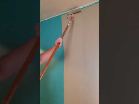 Satisfying paint roller painting a wall