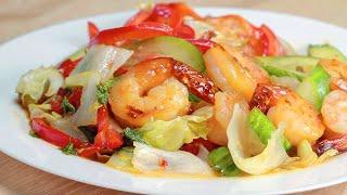 Теплый салат с креветками. Рецепт от Всегда Вкусно!