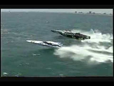 Rough water boat race big wave jumping Pantera powerboats