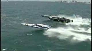 Rough water boat race big wave jumping Pantera powerboats