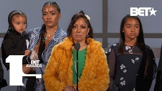 Download Lauren London, Angelique Smith & Family Accept Nipsey Hussle's Humanitarian Award | BET Awards 2019 Mp3 and Videos