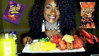 HOW TO MAKE XXTRA FLAMIN HOT CHEETOS &amp TAKIS FRIED LOBSTER! (2 WAYS) COOK &amp EAT WITH ME!