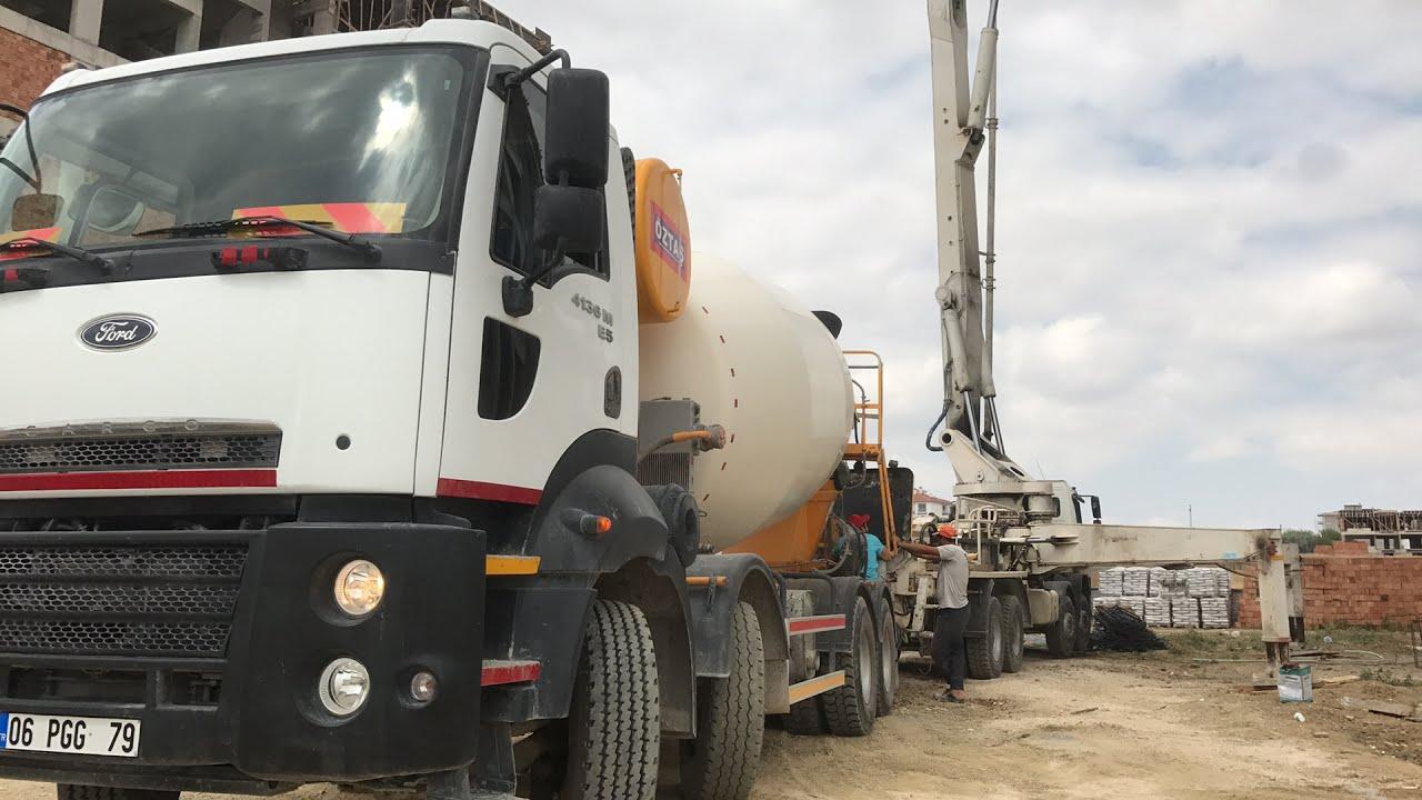 Beton pompası mikser çalışmaları ve beton atma fort truck