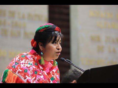 Intervención de la C. Elda Mizraim Fernández Acosta en lengua indígena tének