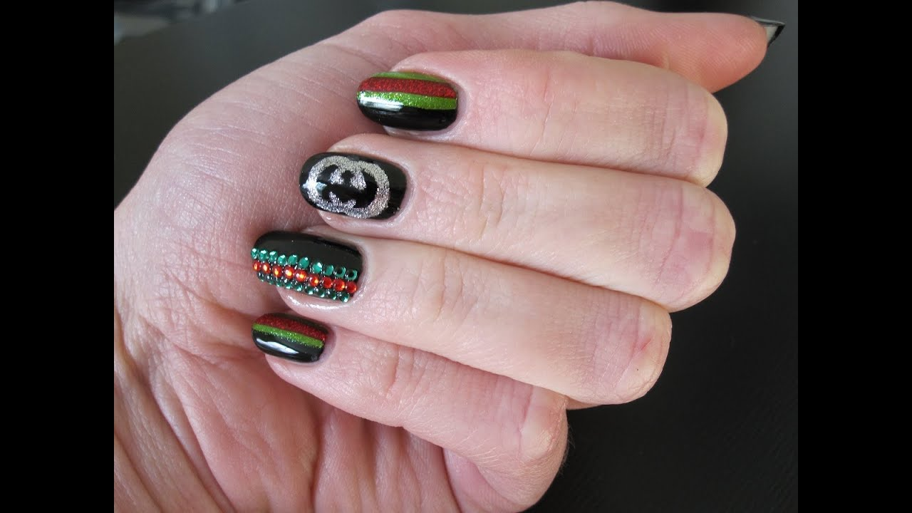 Gucci Nail Art (Fashion Night Out Manicure) - YouTube