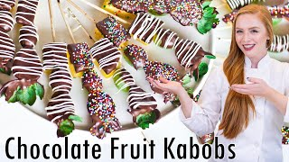 How to Make Chocolate Covered Fruit Kabobs - Perfect for Valentine's Day!!