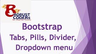 Bootstrap3 part-13| Bootstrap Tabs, Pills , Dropdown menu|How to create dropdown menu / create menu