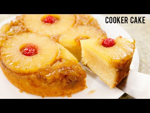 Pineapple Upside-Down Cake Recipe - Eggless In Cooker - CookingShooking