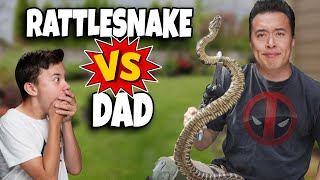 GIANT RATTLESNAKE IN OUR BACKYARD!!! Dad VS. Rattlesnake - Kids Play with Rattlesnake Rattle!