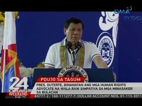 24 Oras: Pres. Duterte, binanatan ang mga human rights advocate