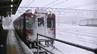 大雪の養老鉄道大垣駅に入線する600系601F折り返し揖斐行き