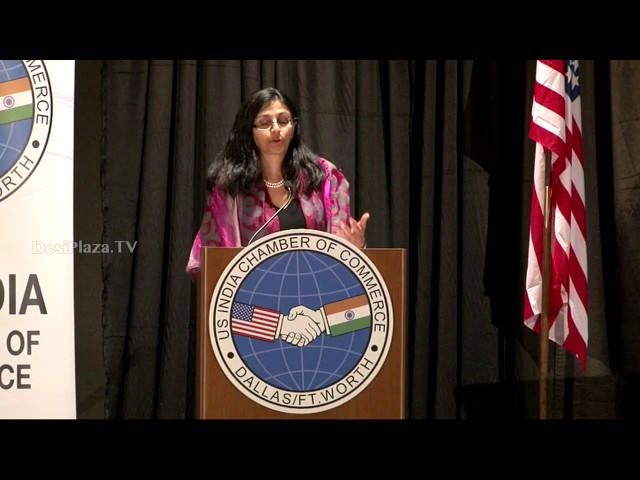 Nisha Biswal  Asst. Secretary of State for South and Central Asian Affairs giving speech.