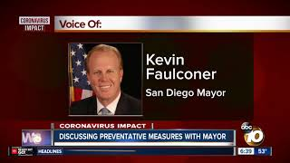 San Diego mayor talks to 10News about virus preventive measures
