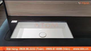 TDM.VN | Lavabo âm bàn Caesar LF5130 chậu rửa mặt chữ nhật nắp sứ