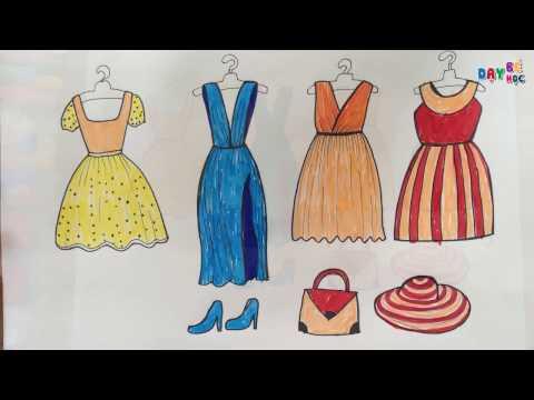 Dạy bé tập vẽ thời trang quần áo váy mũ giày dép   Day be hoc ve thoi trang quan ao vay mu giay dep