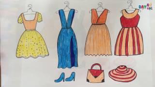 Dạy bé tập vẽ thời trang quần áo váy mũ giày dép | Day be hoc ve thoi trang quan ao vay mu giay dep