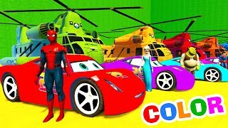 Learn Colors McQueen Cars and Spiderman Cartoon Full Episodes In English 2017