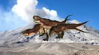 Dinosaurio en la montaña