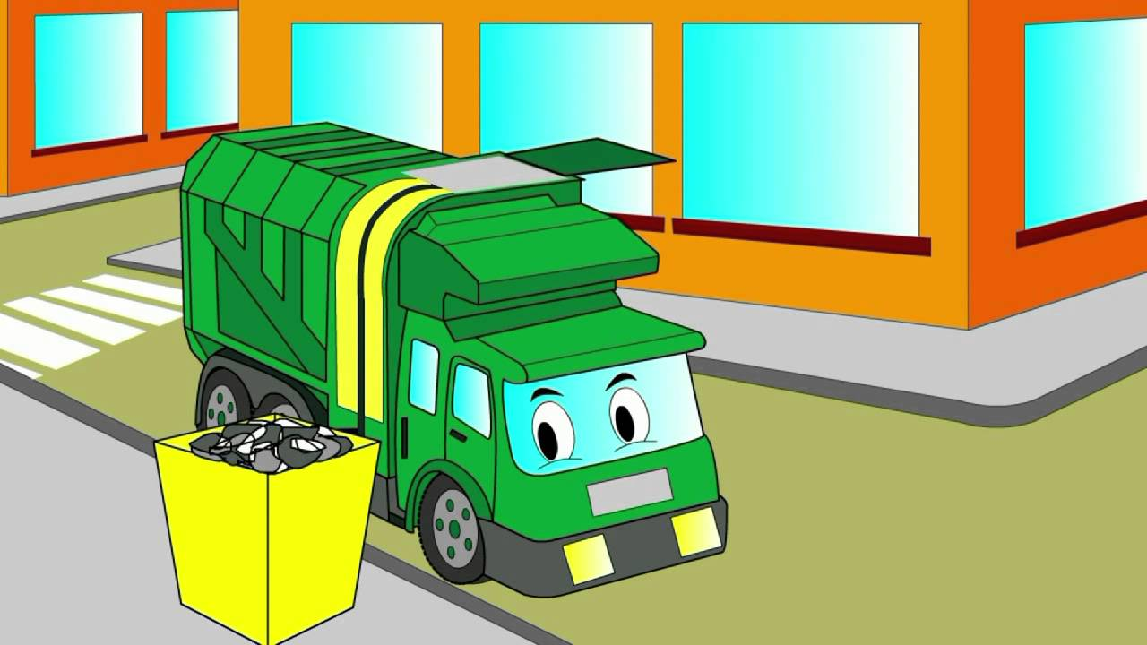 - Cartoon About A Garbage Truck. Coloring Book. Let's Color A