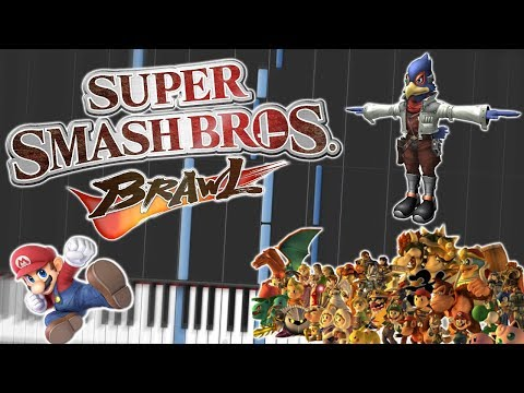 Super Smash Bros. Brawl Main Theme Piano Tutorial Synthesia ✪WITH LYRICS✪
