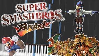 Super Smash Bros. Brawl Main Theme Piano Tutorial Synthesia ✪WITH LYRICS✪