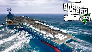 GTA 5 Моды: Боевой военный корабль! - Авианосец военных!!!