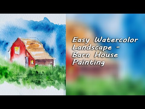 Easy Watercolor Landscape – Barn House Painting | Watercolor For Beginners