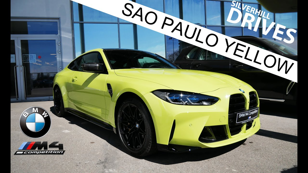 2021 BMW M4 Competition G82 in Sao Paulo Yellow: walkaround, cold start with exhaust sound in 4K