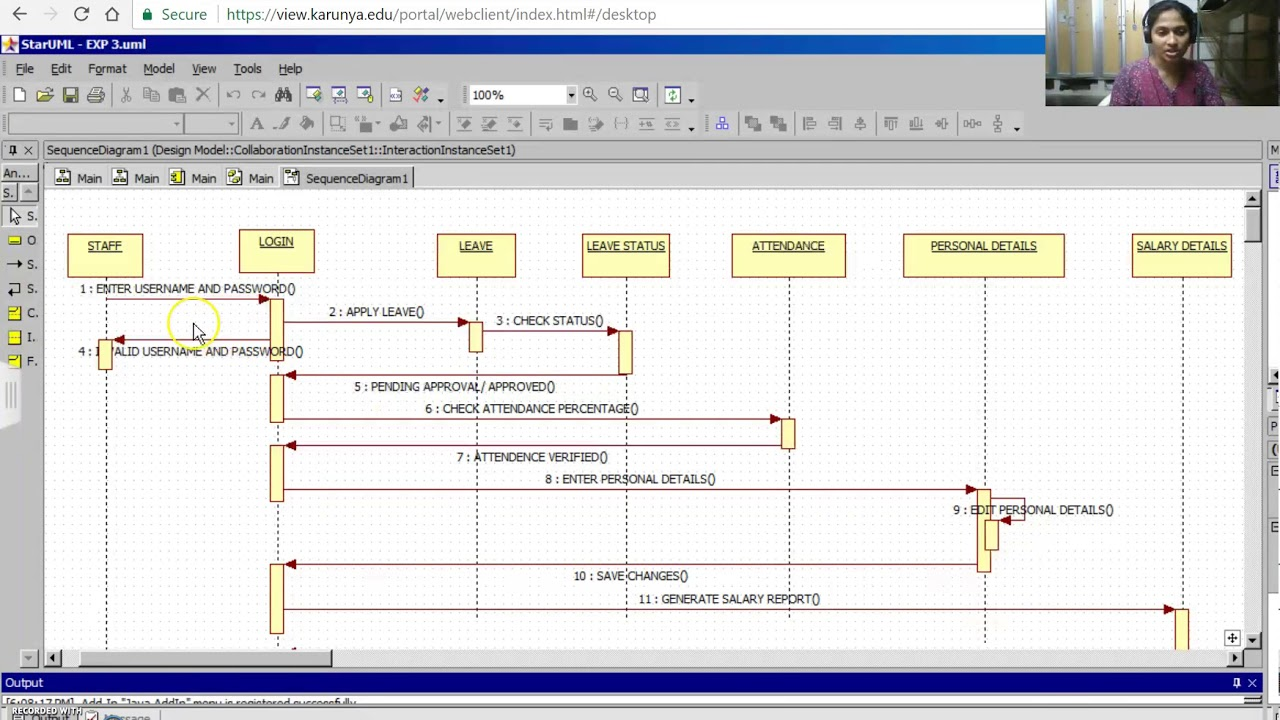 hight resolution of sequence diagram for staff management system