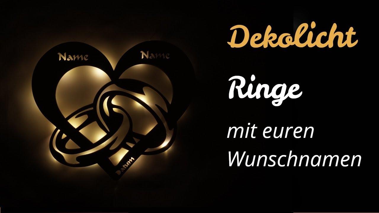 Herz Ringe LED Deko Lampe mit Namen und Datum