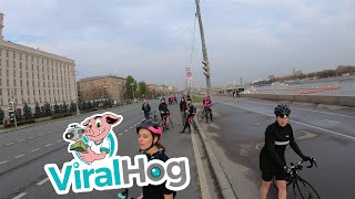 Cyclist Witnesses Car Roll Over || ViralHog