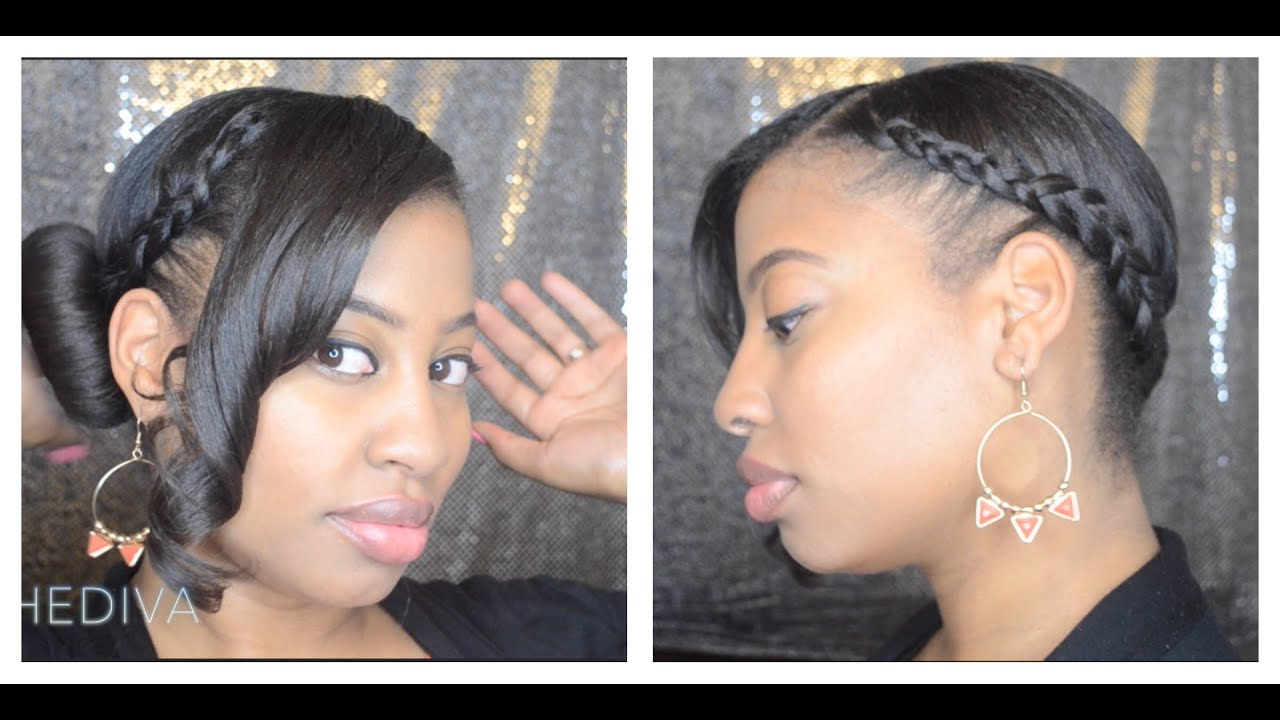 5 Minute Hairstyles Braids: Updo Buns With Bangs: 5-Minute Protective Hairstyle: Bun